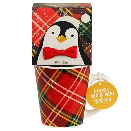 Penguin Holiday Cocoa and Mug Gift Set