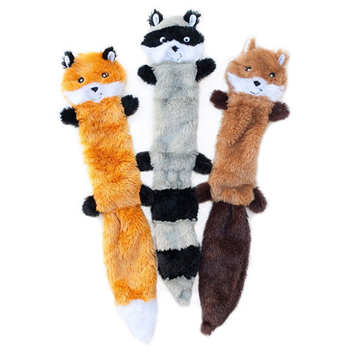 ZippyPaws Squeaky Fox, Racoon and Squirrel Toy