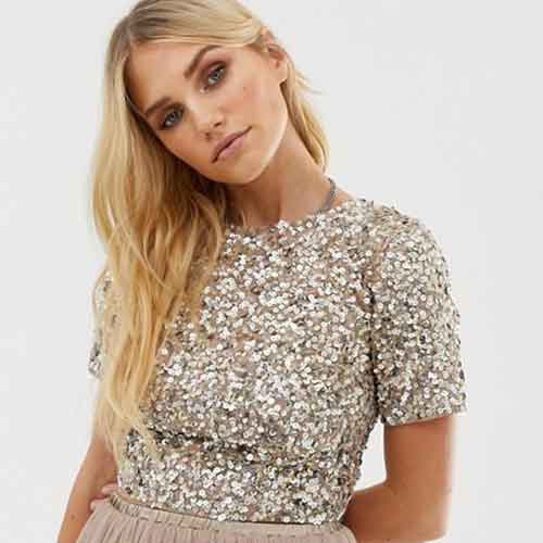 ASOS Lace & Beads Cropped Top