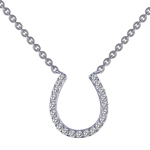 Horseshoe Simulated Diamond Pendant Necklace