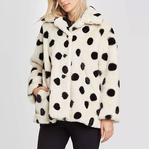 Who What Wear Faux Fur Polka Dot Jacket