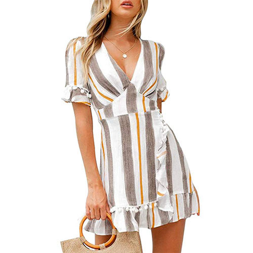 Simplee Stripe Print A-Line Dress