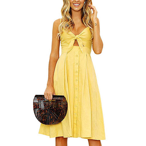 Yidarton Summer Spaghetti Midi Dress