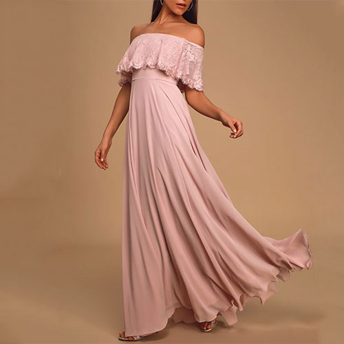 Lulus Everlasting Love Dusty Lavender Off-the-Shoulder Maxi Dress