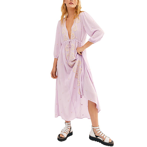 Free People Lilac Embroidered V Maxi Dress