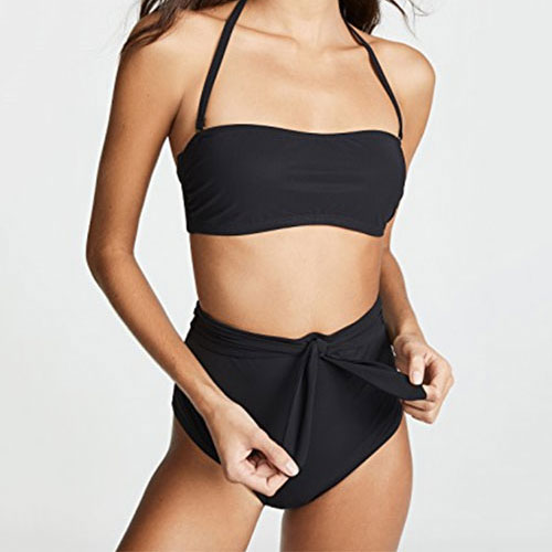 Tory Burch Solid Tie High-Waisted Bottoms