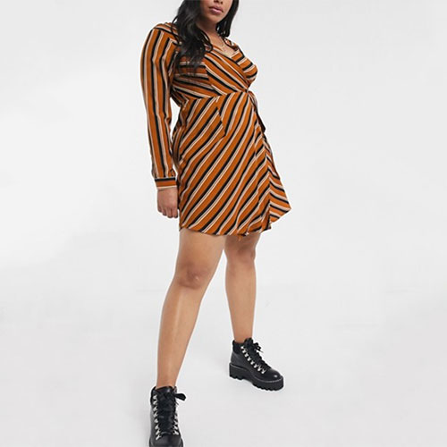 Brave Soul Plus Striped Wrap Dress