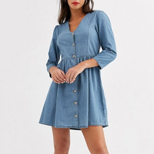 ASOS Soft Denim Tea Dress in Midwash Blue
