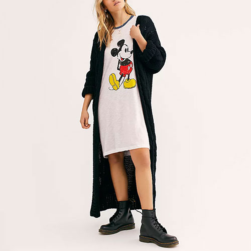 Free People Mickey Burnout Maxi Tee