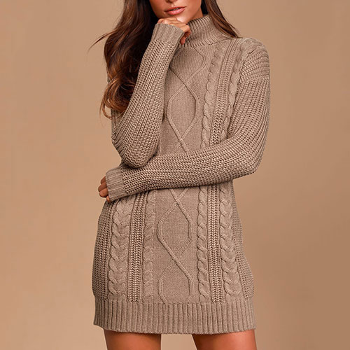 Crisp Mornings Cozy Cable Knit Turtleneck Sweater Dress