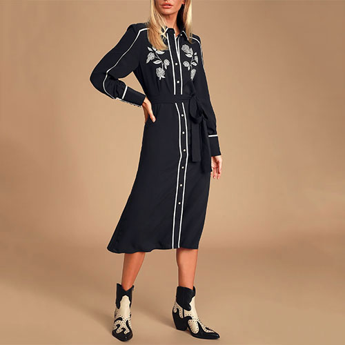 Nathalia Black and White Embroidered Dress