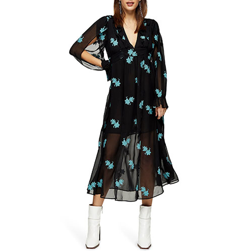 Topshop IDOL Embellished Floral Midi Dress
