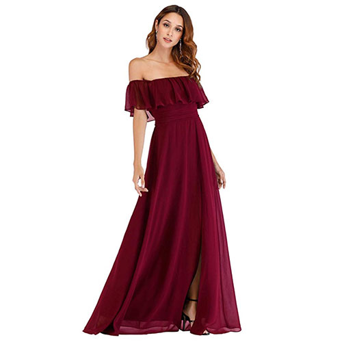 Ever-Pretty Off the Shoulder Ruffle Party Dress