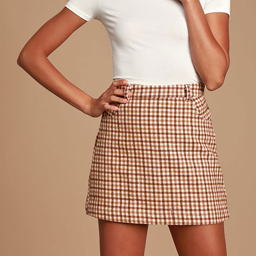 Sycamore Brown Plaid Mini Skirt