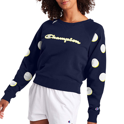 Champion Women's Campus French Terry Crew Neck Sweatshirt in Dropshadow Dot