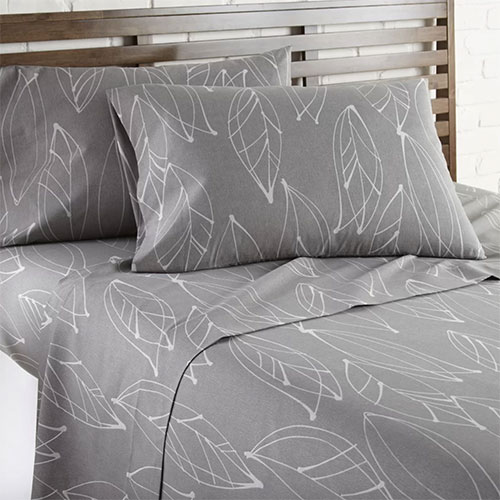 Gray Strongsville Modern Foliage Floral/Flower Sheet Set