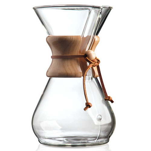 Chemex 8 Cup Classic Glass Coffee Maker with Wood Collar and Tie