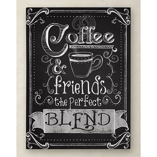 'Coffee & Friends' Textual Art on Wrapped Canvas