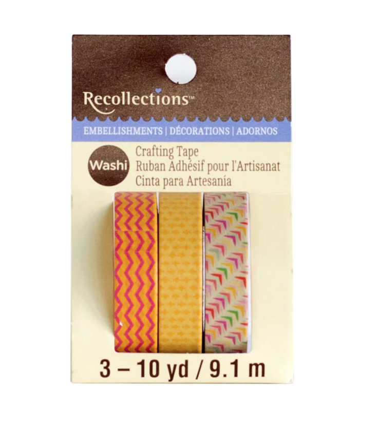 Yellow, Orange & Pink Print Washi Tape by Recollections