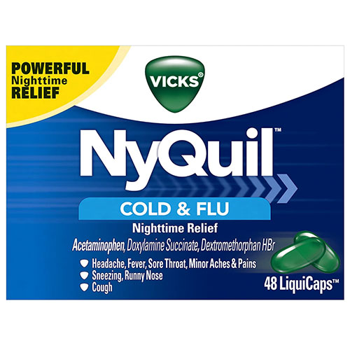 Vicks NyQuil Cough, Cold & Flu Nighttime Relief, 48 LiquiCaps