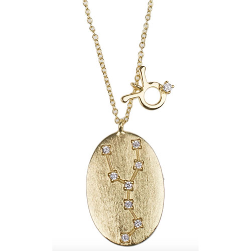 CZ by Kenneth Jay Lane 14K Yellow Gold Plated Zodiac Pendant Necklace