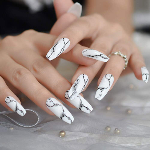 CoolNail White Black Gradient Marble Press on False Nails