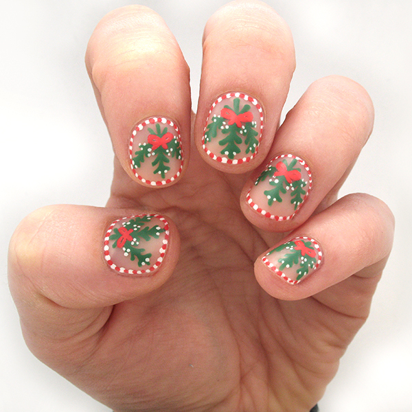 Deck the Halls with These Candy Cane & Mistletoe Christmas Nails