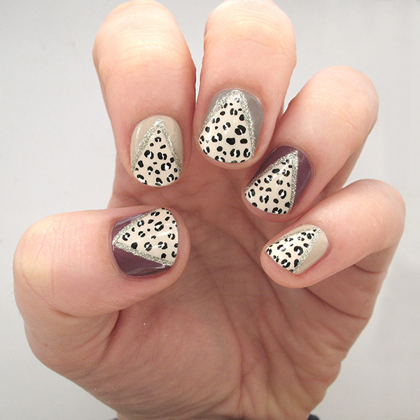 Feeling Frisky? Try this Glam Glitter and Leopard-Print Nail Design
