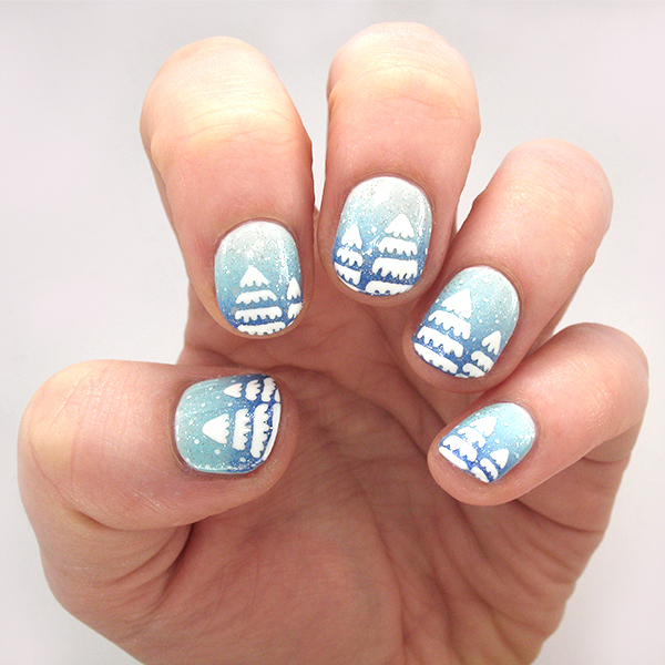 Feel the Frost with These Snowy Tree Gradient Winter Nails