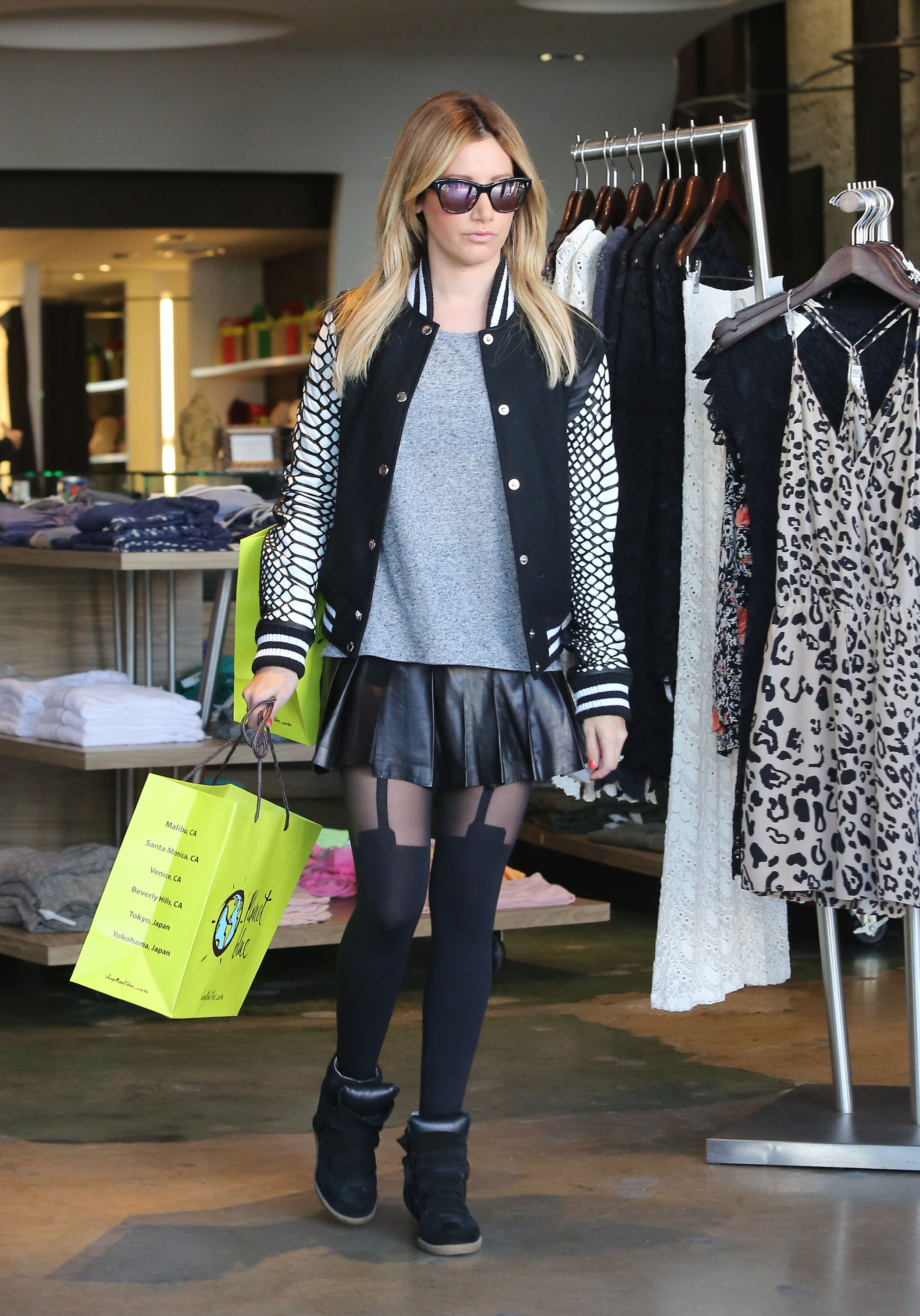 Get the Look: Ashley Tisdale's Bomber Jacket and Leather Skirt