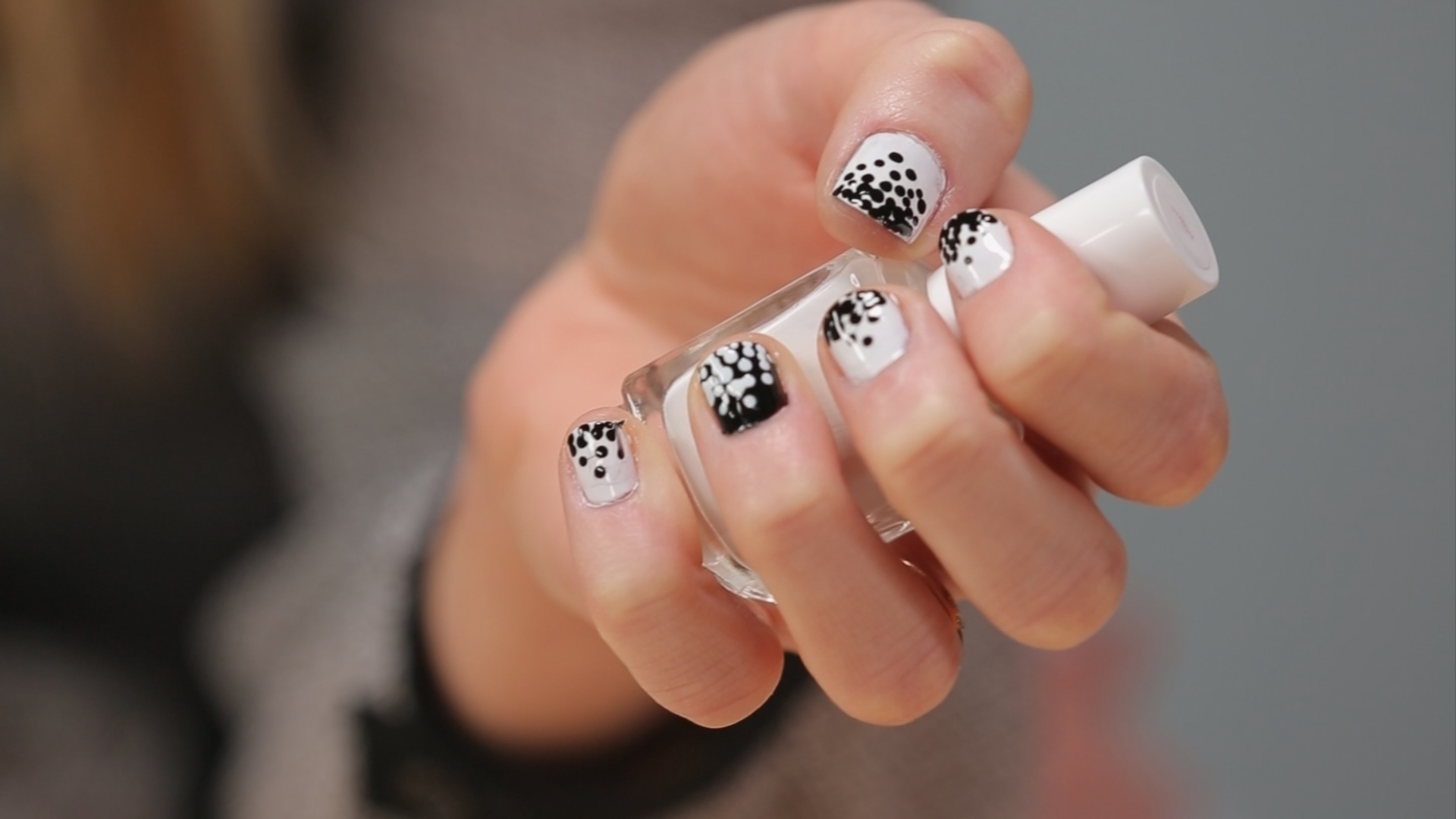 Black-and-White Dotted Nail Art