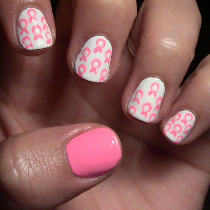 Nail Art How-To: Breast Cancer Ribbon-Print Design