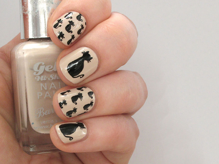 Halloween Nail Art Tutorial: Black Cat Pattern