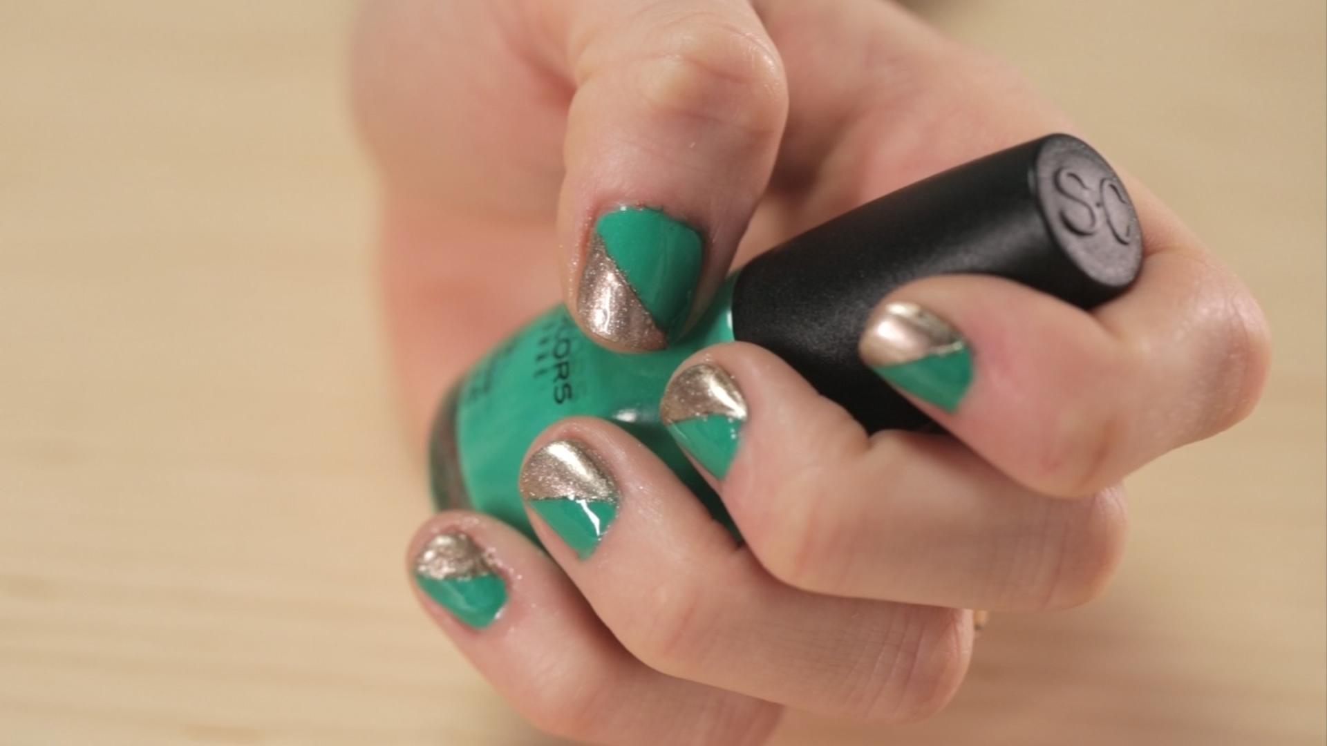 Green and Gold Color-Blocked Nails