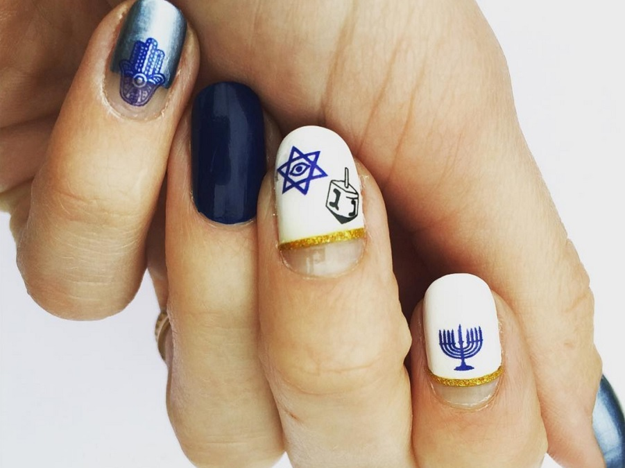 15 Hanukkah-Inspired Manicures To Rock All 8 Nights