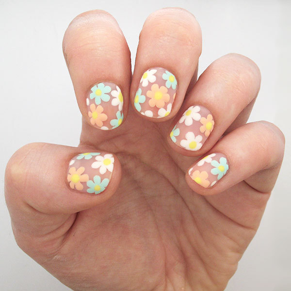 Negative Space Flower Nail Art Tutorial
