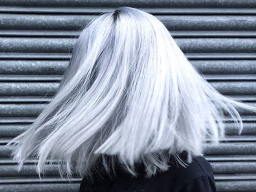 The Silvery Blue Hair Trend Is