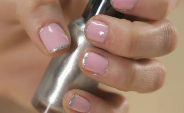 Silver-Tipped French Manicure