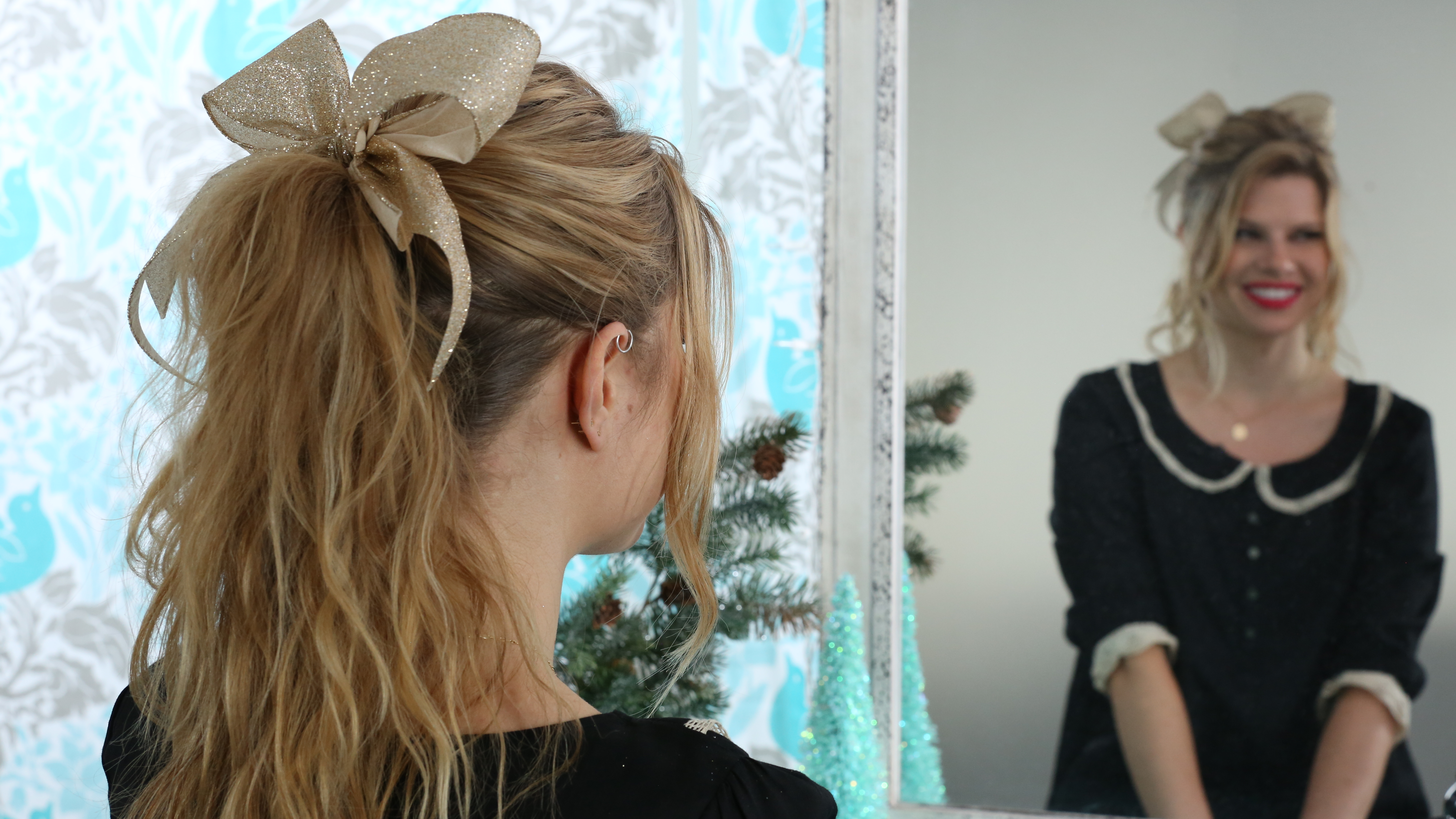 Tiered Ponytail with a Holiday Twist