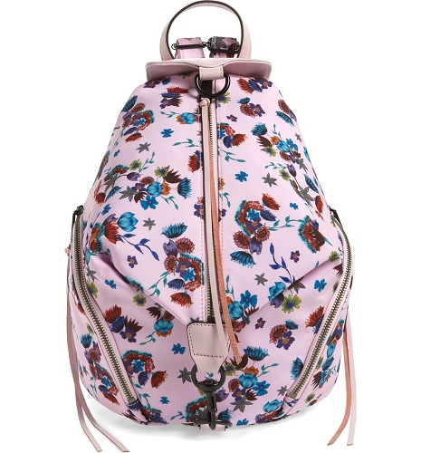 nylon floral backpack in pink