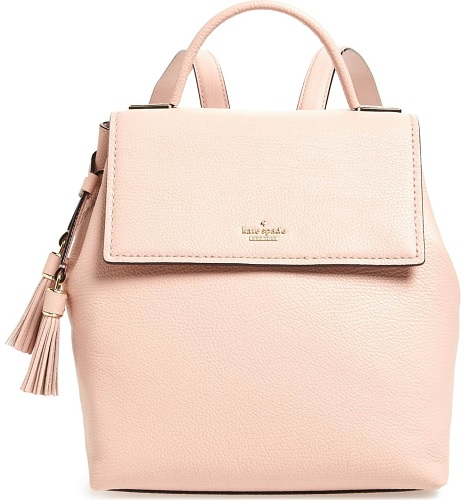 kate spade leather backpack in beige