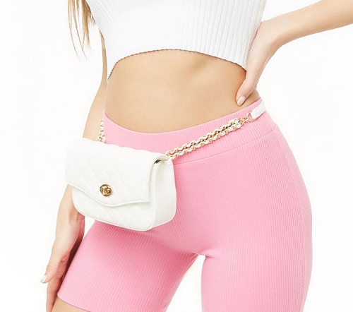 white quilted belt bag with chain strap from forever21