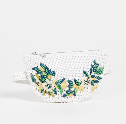 sam edelman white raffia belt bag with floral embroidery