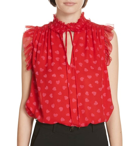 kate spade red tie neck blouse with hearts