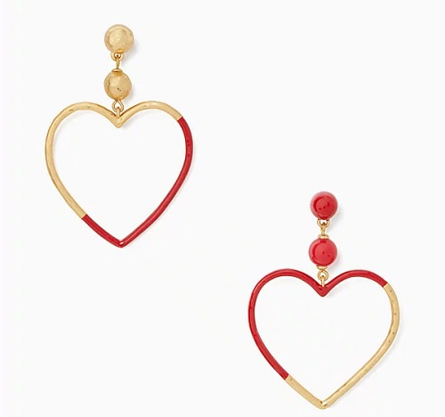 kate spade earrings shaped like hearts