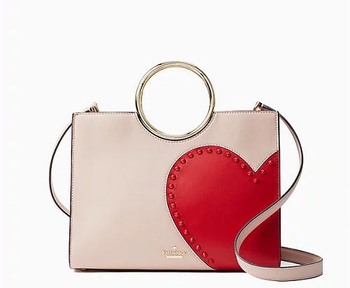 kate spade heart bag beige and red