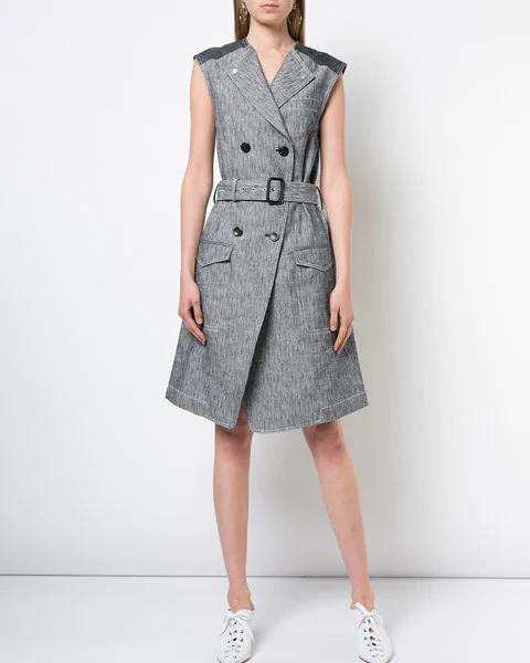 sleeveless trench dress in gray with belt