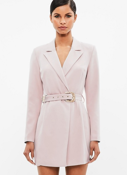 nude trench dress with embellished belt