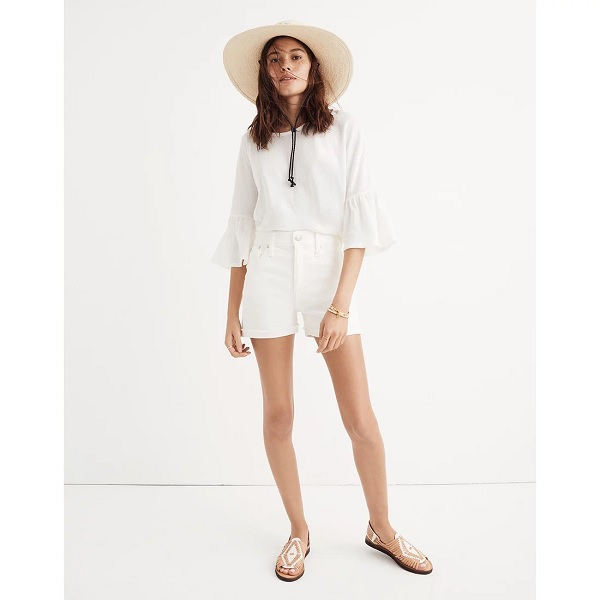 madewell denim shorts in white