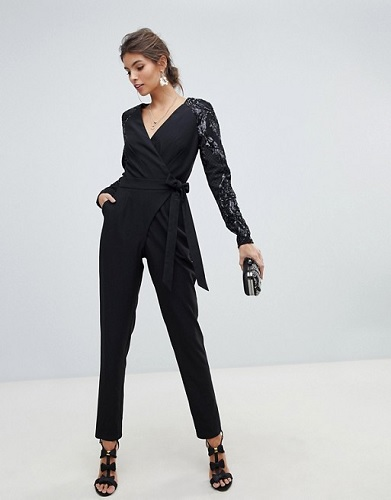 asos black jumpsuit with sequin sleeves